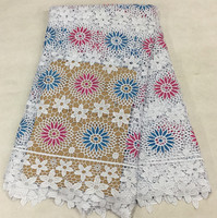 Latest White With Blue Fuchsia Embroidery French Guipure Apparel Material African Water Soluble Lace Fabric For