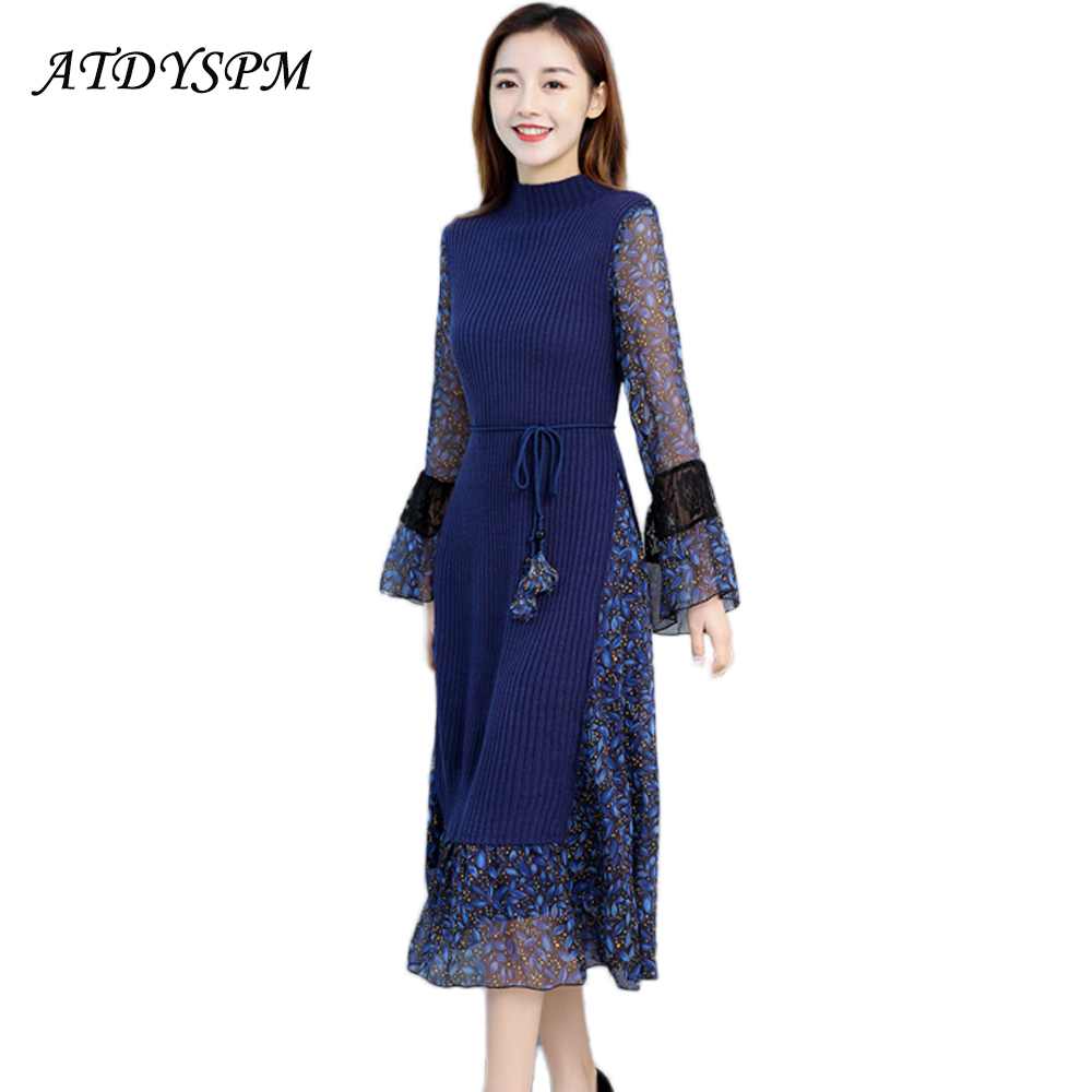ATDYSPM New Slim Long Women's Lace Stitching Dress Flare Sleeve Printed Mesh Knitted Dresses Vestidos Female Sexy Casual Dress chantelle купальный бюстгальтер