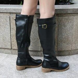 Image 5 - Meotina kış kadın binici çizmeleri tıknaz alçak topuk motosiklet Boots ayakkabı Zip toka sonbahar kadınlar yüksek çizmeler sarı büyük boy 9 10