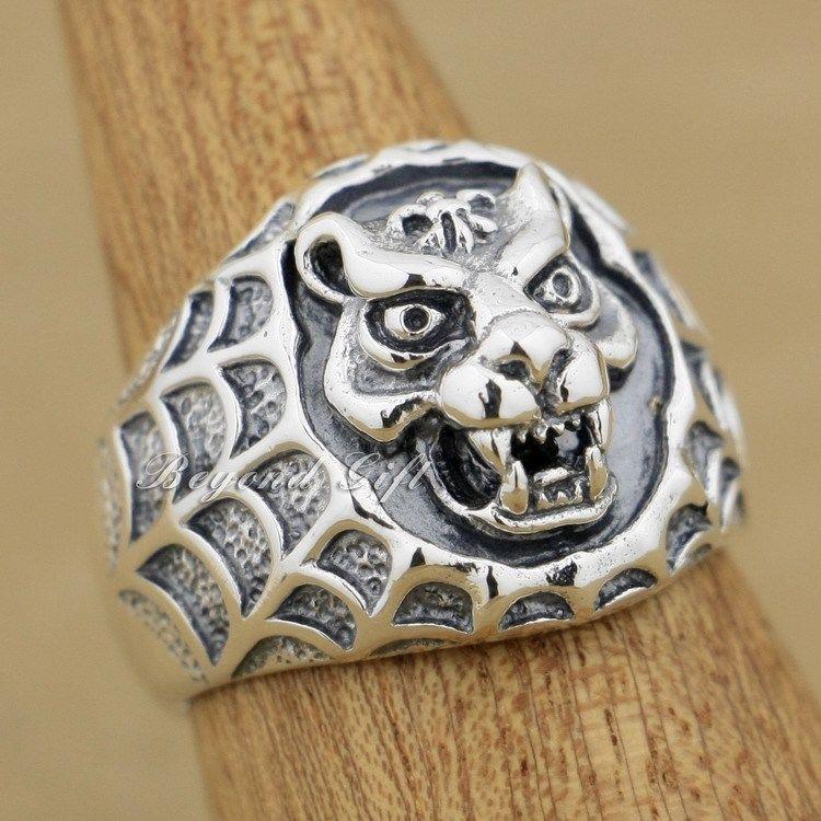 925 Sterling Silver Tiger Net Mens Biker Ring Animal Ring 9Q005925 Sterling Silver Tiger Net Mens Biker Ring Animal Ring 9Q005