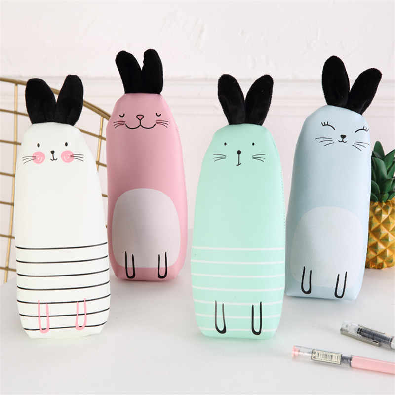 New Cartoon PU Leather Rabbit Pencil Case Large Capacity Pencil Bag School Supplies Cute Pen Box Storage Pouch Kawaii Stationery