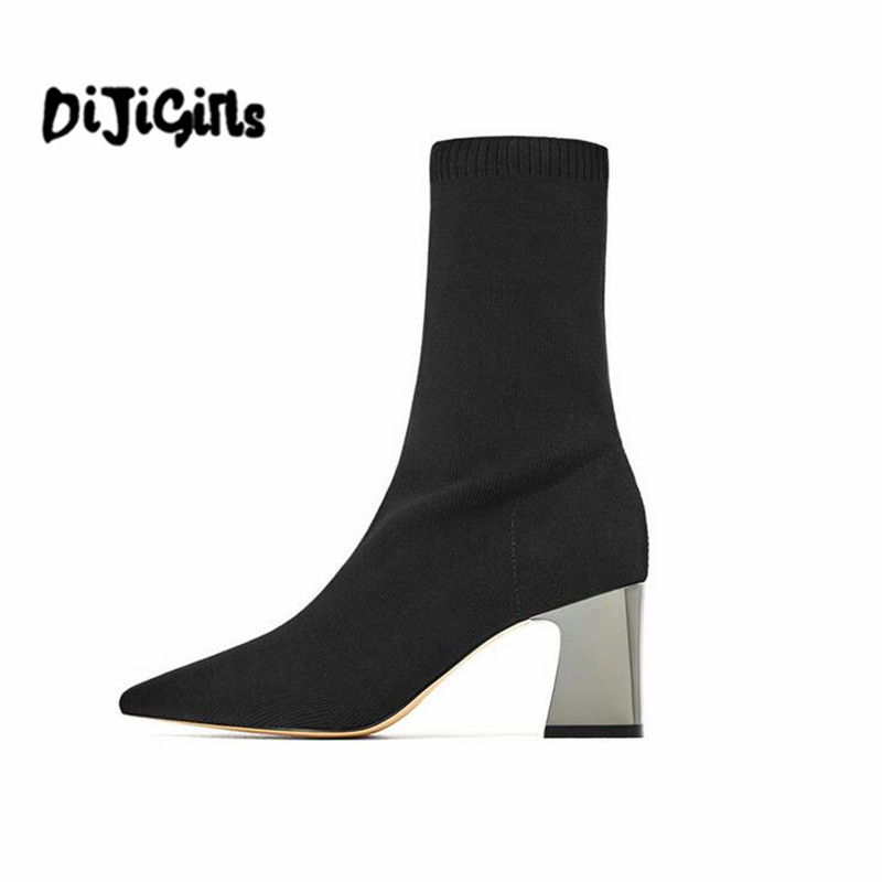 Diji Girls Fashion Ankle Elastic Sock Boots Chunky High Heels Stretch Women Autumn Sexy Booties Pointed Toe Women Pump Size 39 fashion kardashian ankle elastic sock boots chunky high heels stretch women autumn sexy booties pointed toe women pumps botas