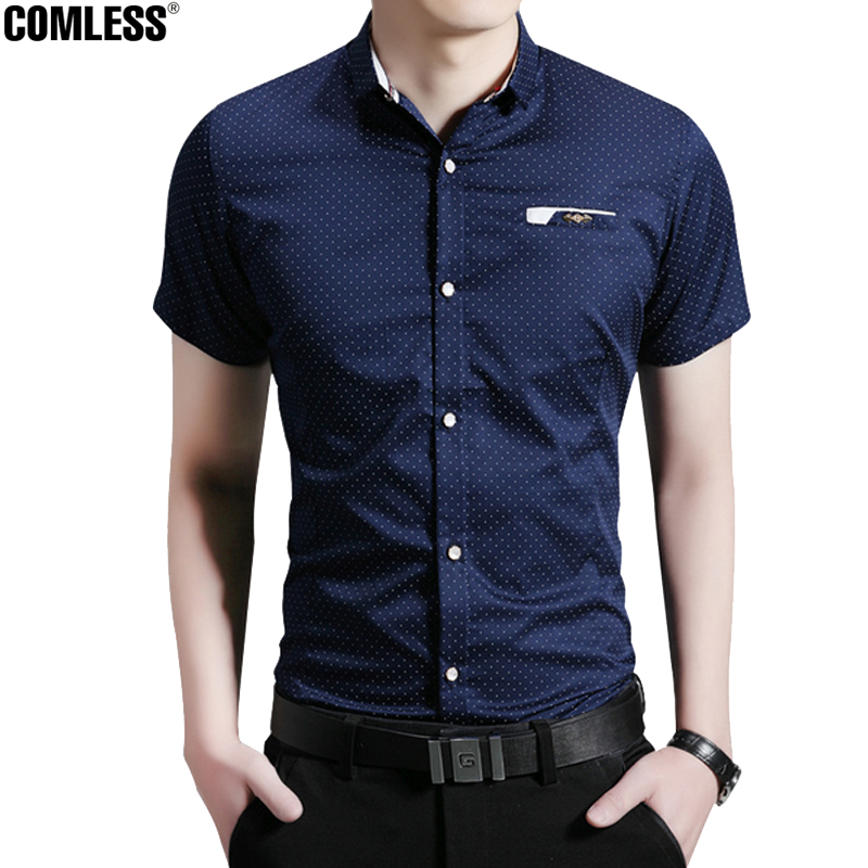 2016 New Fashion Casual Men Shirt Short Sleeve Polka Slim Fit ...