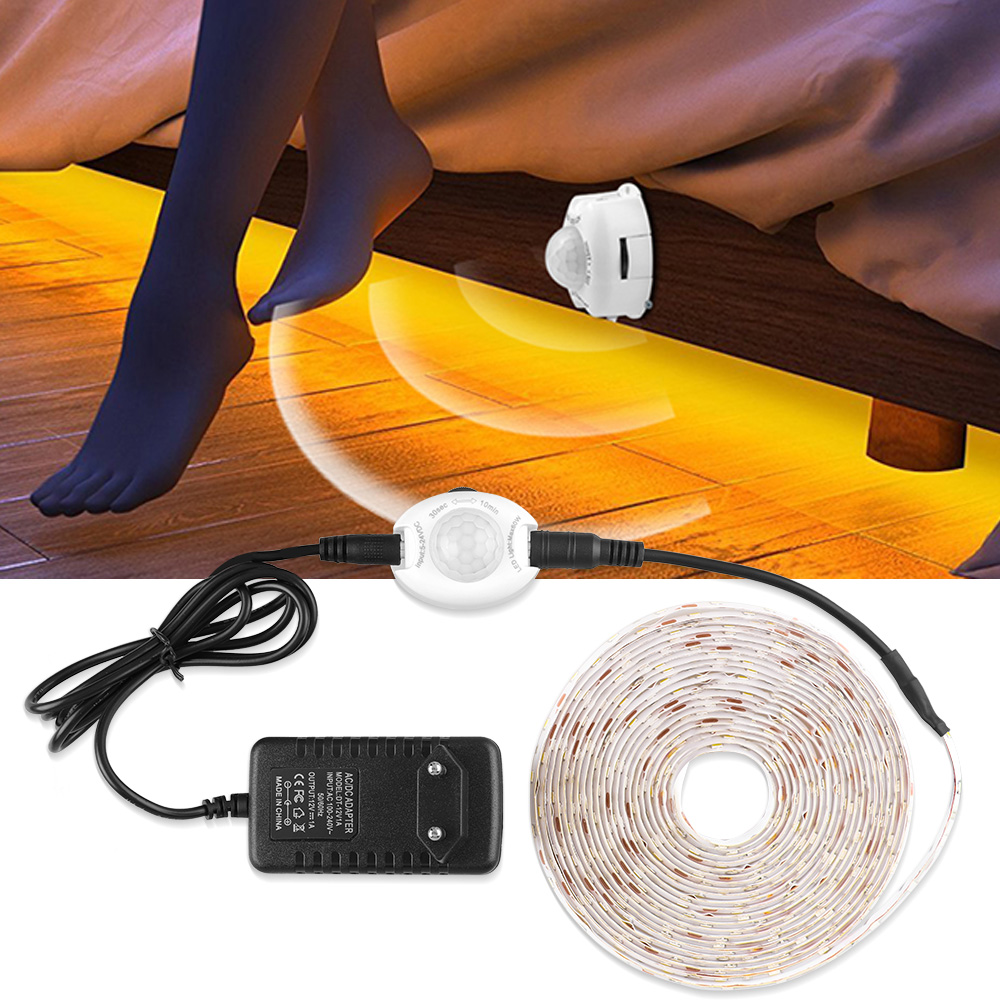 DC 12V LED Strip Motion Sensor Light Auto ON/OFF Flexible LED Tape 1M 2M 3M 4M 5M SMD2835 Bed Light For Closet Stairs Kitchen