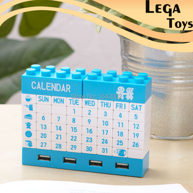 High Quality DIY Calendar,Building Blocks Calendar, USB Blocks Calendar Hub DIY Perpetual Calendar with 4 Ports Hub