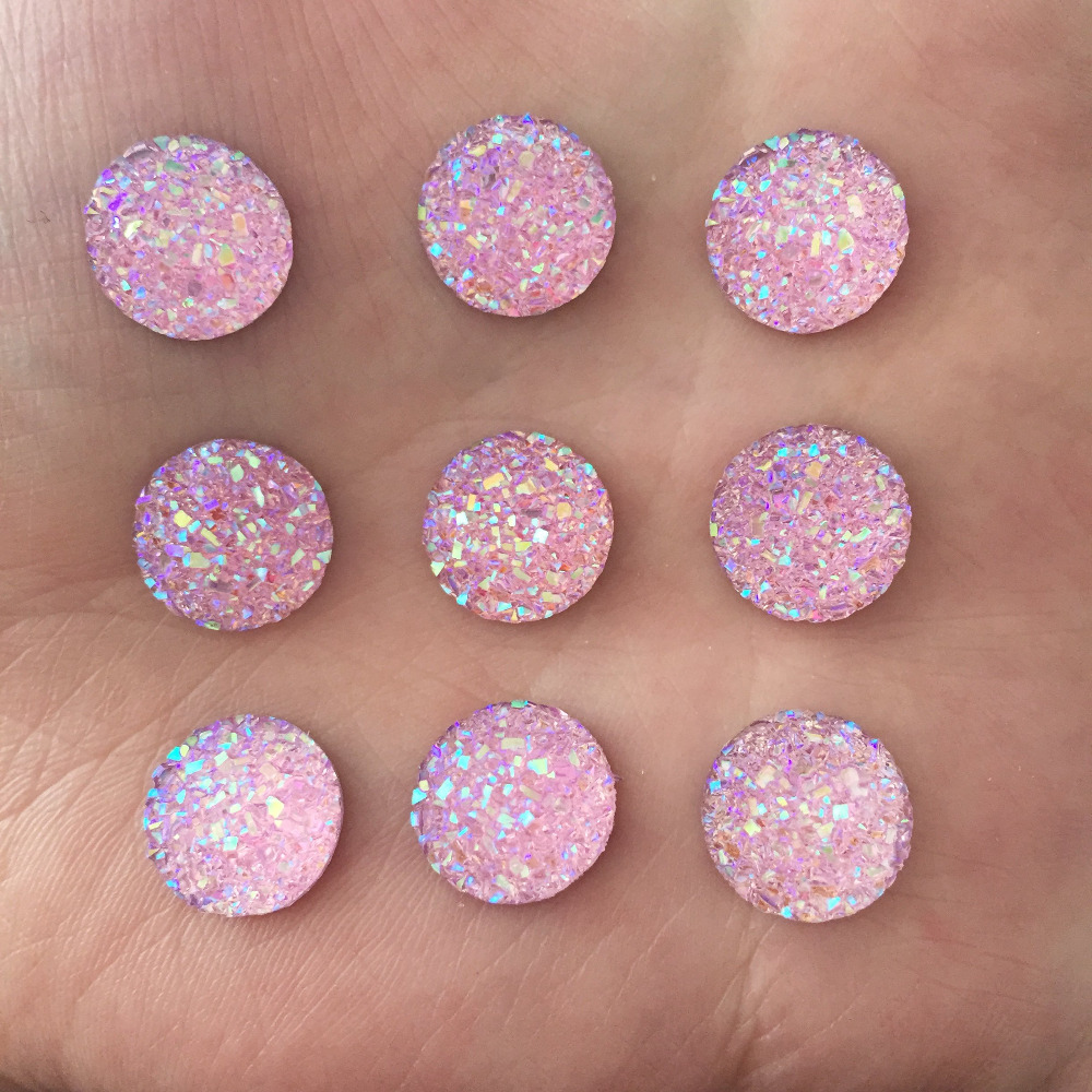 H0T 80PCS <font><b>12</b></font> <font><b>mm</b></font> of mineral surface flat ROUND resin accessories DIY D674 image