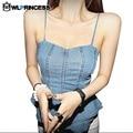 Owlprincess Nightclub Jeans coletes de mulheres Strap mangas Denim colete feminino Jeans Sexy Ruffles Backless Vest Tops estilo verão