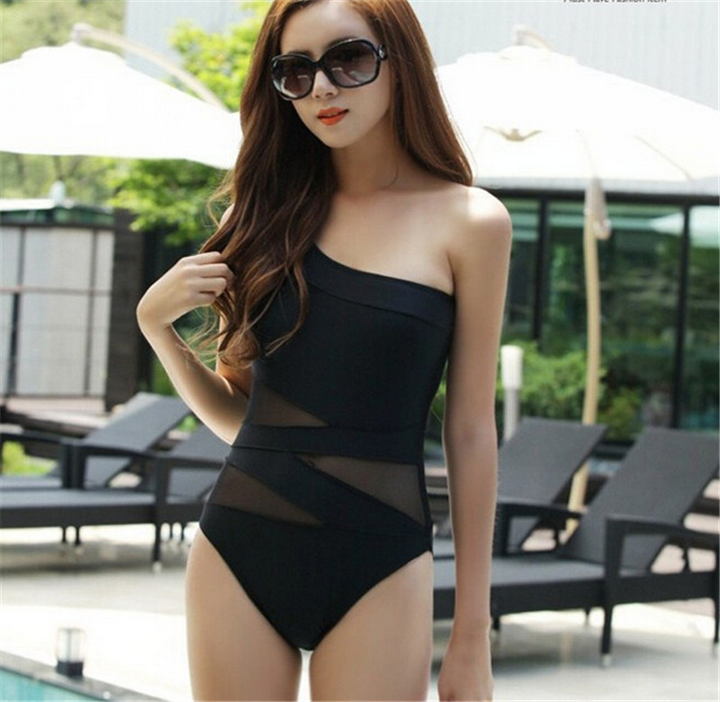 ef17554c27c3a YCDYZ Women Off Shoulder One Piece Swimsuit Monokini Black Sexy Mesh  Swimwear Female Swimsuits For Girls May Beach Bathing Suits