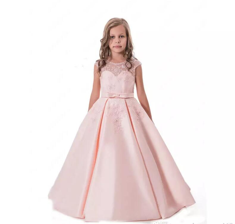 New Pink Flower Girls Dress for Wedding Ankle Length Sleeveless Crew Neck Girls First Communion Dress size 4 6 8 12 14Y black handmade beaded details crew neck sleeveless high waisted dress