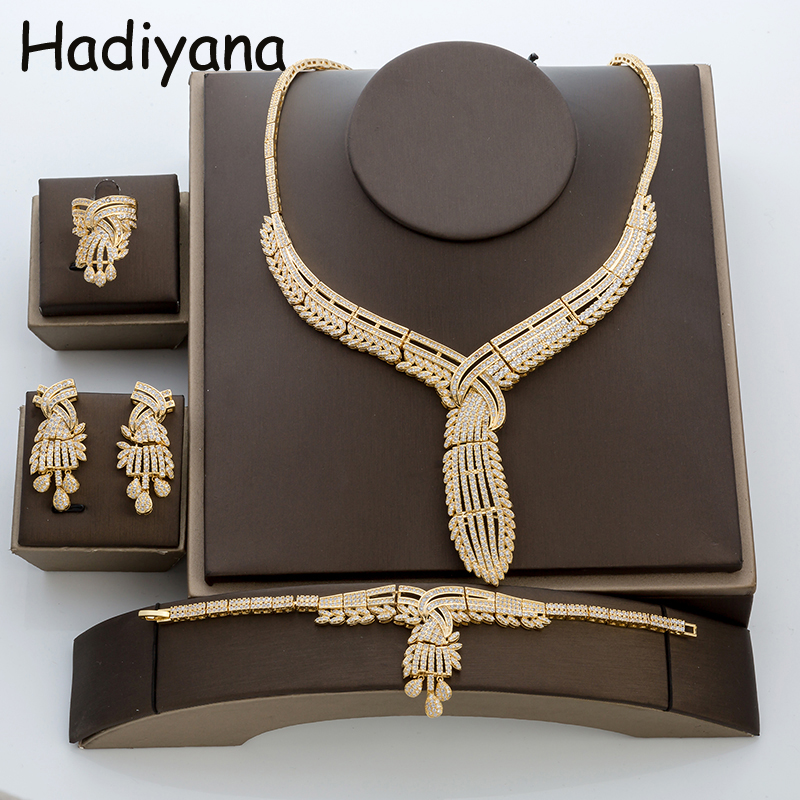 Hadiyana Fashion Lady 4ps Jewelry Sets For Brides New Arrival Copper Tassel Costume Jewelry Set 2018