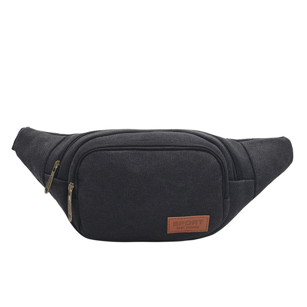 Waist Bag Fanny Pack Neutral Canvas Wear Outdoor Sports Pockets Chest Bags Portable Small Bag поясная сумка Dropshipping ##2
