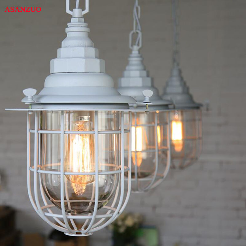 Retro Small Cage pendant lamp Restaurant Industrial Wind Creative Bar Cafe Loft pendant lamp new loft vintage iron pendant light industrial lighting glass guard design bar cafe restaurant cage pendant lamp hanging lights