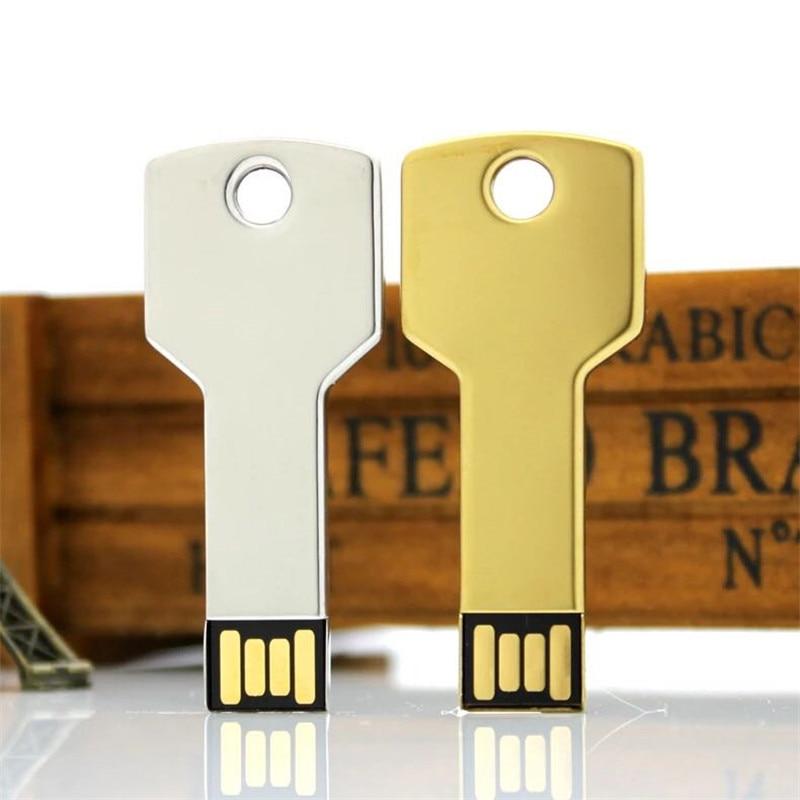 Image 3 - Metal Key Usb Flash Drive 64gb High Quality Pen Drive 4gb 8gb 16gb 32gb 128GB Memory Stick Usb 2.0 Pendrive Free Custom Logo-in USB Flash Drives from Computer & Office