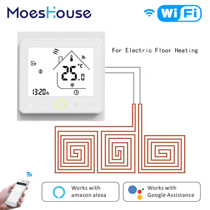 WiFi Inteligente Controlador de Temperatura Do Termostato Piso Quente Aquecimento Por Piso Radiante Eléctrico Tuya APLICATIVO Funciona Amazon Alexa Echo Inicial do Google