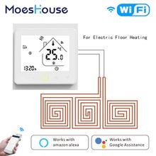 WiFi inteligentny termostat regulator temperatury ciepłej podłogi elektryczne ogrzewanie podłogowe Tuya aplikacja działa Amazon Alexa Echo Google Home tanie tanio BHT-002-GBLW MoesHouse White Black Termostato Electric Underfloor Heating Thermostaat Warm Floor Electric Heating 5 -35 C