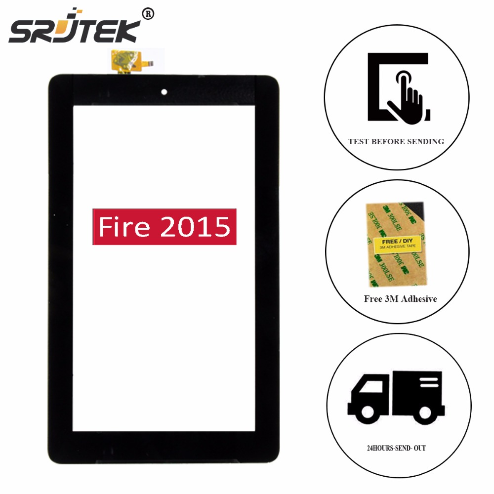 Srjtek 7 For Amazon Kindle Fire 7 2015 HD5 HD 5 SV98LN Digitizer Touch Panel Screen Glass Sensor Tablet PC Replacement Parts for amazon 2017 new kindle fire hd 8 armor shockproof hybrid heavy duty protective stand cover case for kindle fire hd8 2017