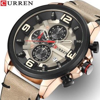 CURREN Männer Uhren Top-marke Luxus Quarz Gold Uhr Männer Casual Leder Militärische Wasserdichte Sport Armbanduhr Relogio Masculino