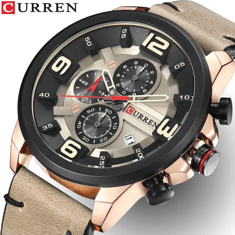 все цены на CURREN Men Watches Top Brand Luxury Quartz Gold Watch Men Casual Leather Military Waterproof Sport Wrist Watch Relogio Masculino