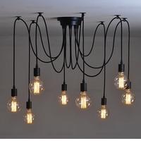 Retro Loft Black Spider Pendant Lights Adjustable Vintage Pendant Lamps Industrial 8 head Ceiling Lamps