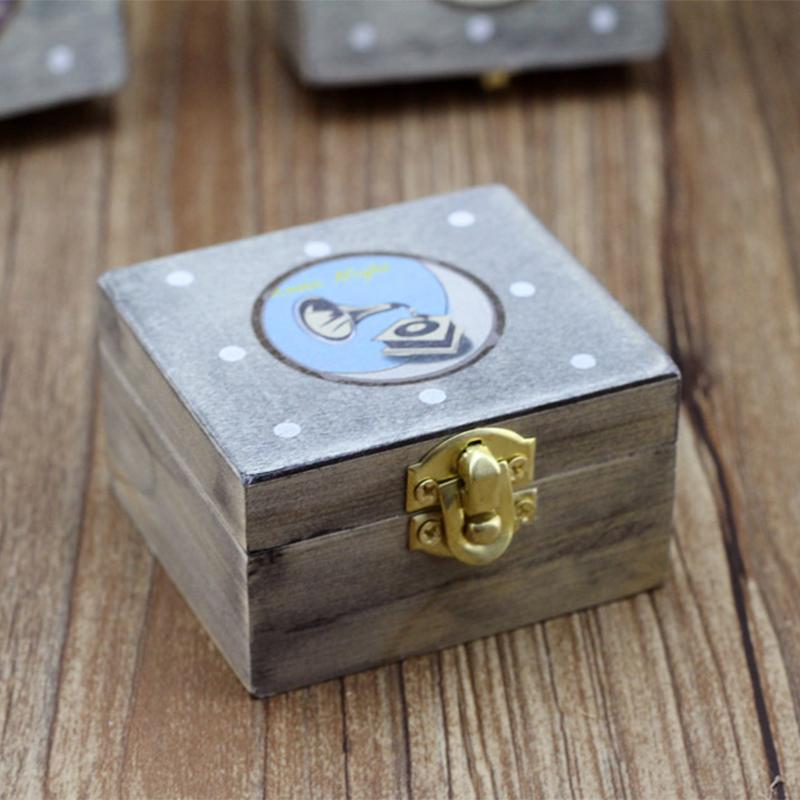 AsyPets Wooden Mechanism Musical Box Wind Up Music Box Gift For Christmas Birthday Valentines day Children Pattern Random30