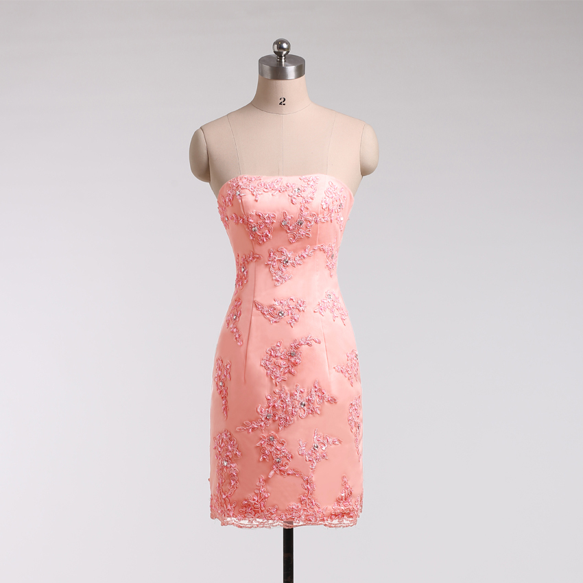 LN 019 New Design Short Strapless Appliques Pure White Wedding Dress ...