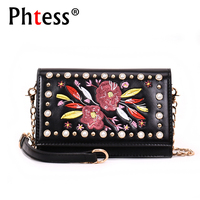 2018 Flowers Embroidery Bag Women Mini Messenger Bags For Girls Sac A Main Female Leather Crossbody