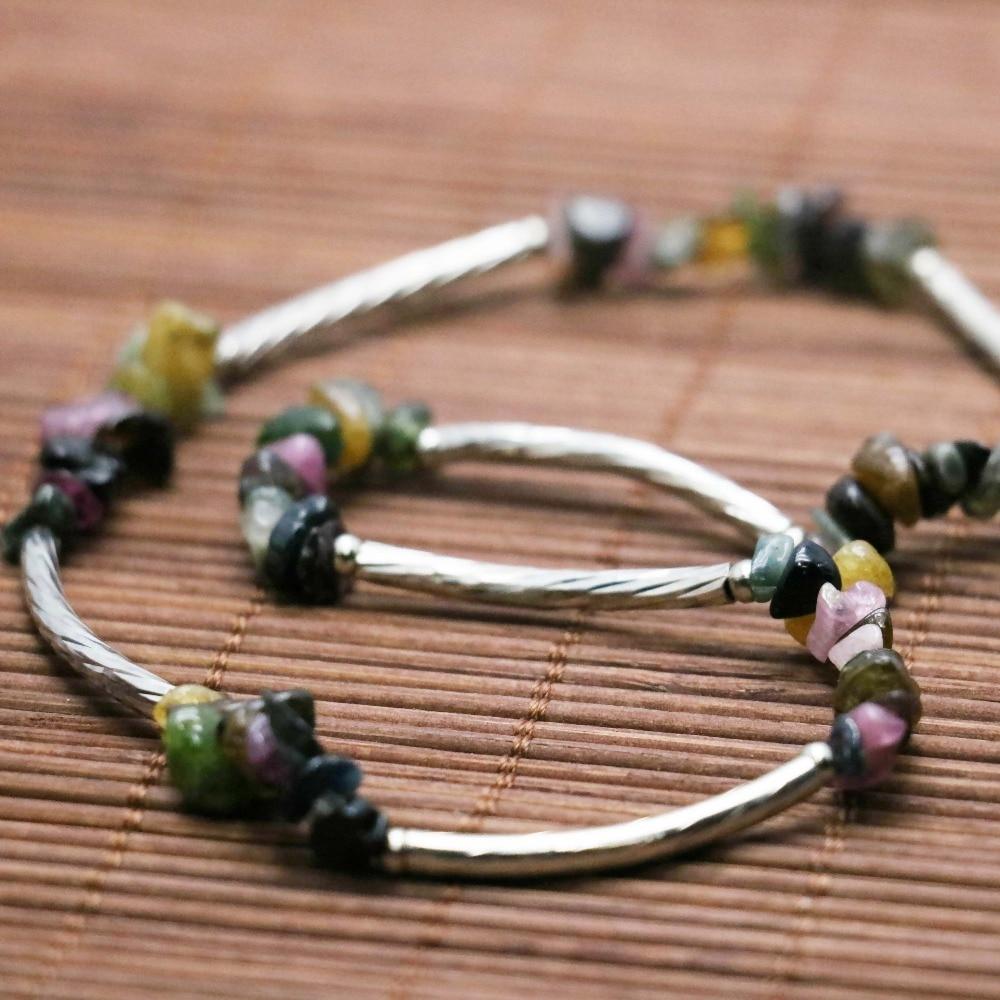 a7cb031e3e5a Estilo retro Piedra Natural colorida turmalina Calcedonia cristal irregular  pulsera mano cadena para mujeres niñas señoras