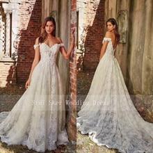 חדש אלגנטי שווי שרוול לבן תחרה חתונה שמלות אפליקציות סקסי ללא משענת שמלות כלה Vestido דה Noiva