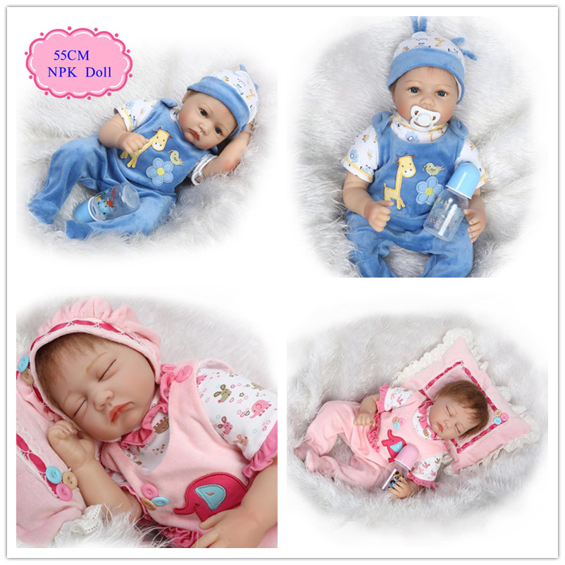 Original China 55cm 22'' Baby Doll Toys For Girls Hot Welcome Reborn Baby Girl Doll Unique Reborn Benecas De Silicone Best Gift