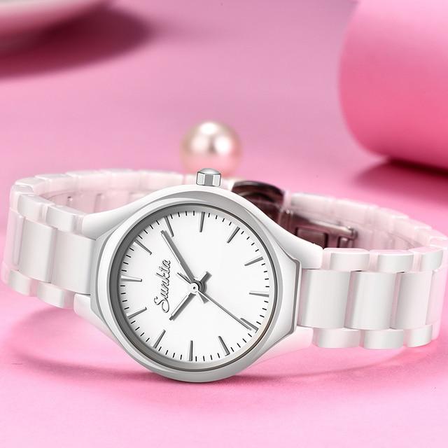 שעון עדין מקרמיקה קוורץ לאישה 4