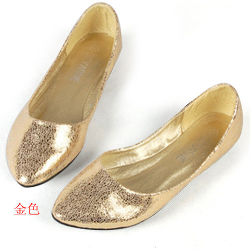 Hot 2014 Spring Summer Pointed Toe Black Ballet Flats Glitter Pu Luxury Flat  Heel Gold Silver Shoes For Wedding Party. 1217-2 077c27bd6