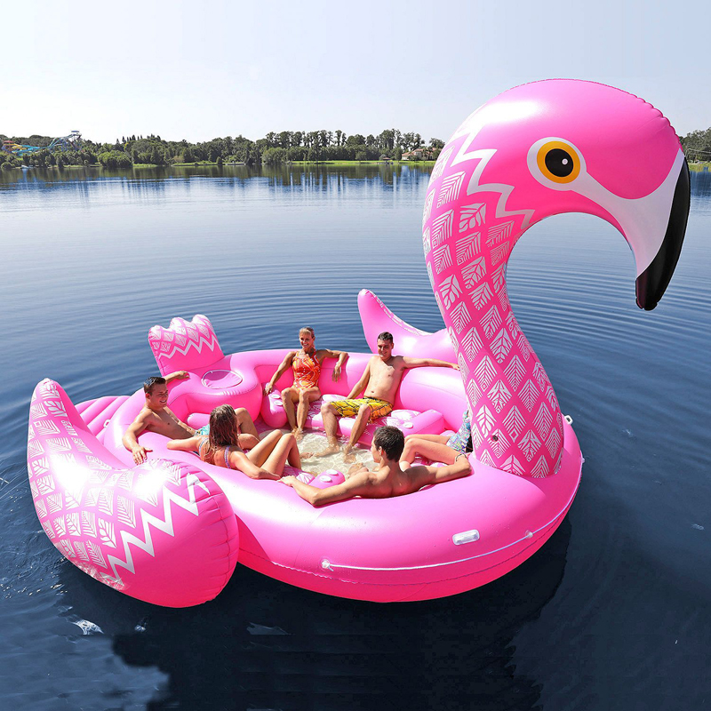 Fits Seven People 530cm Ginormous Flamingo Giant Unicorn Inflatable Boat Pool Party Float Air Mattress Swimming