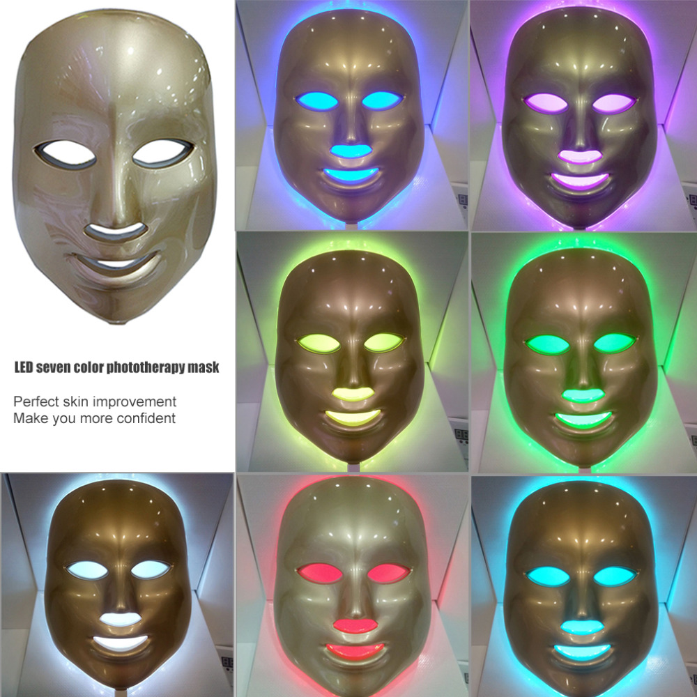 Korean Photodynamic 7 LED Facial Mask Home Use Beauty Instrument Anti acne Skin Rejuvenation LED Photodynamic Beauty Face Mask hot sale safety home use electric potential therapeutic instrument beauty