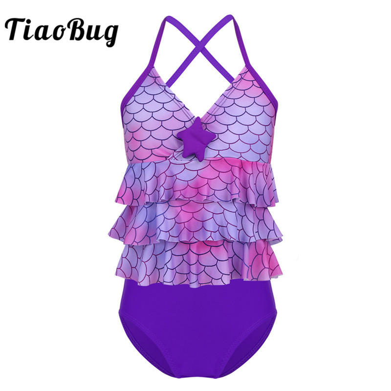 TiaoBug Kids Teens Tankini Mermaid Scales Printed Starfish Bikini Girls Swimsuit Bathing Suit Set Ruffles Tops Shorts Bikini Set