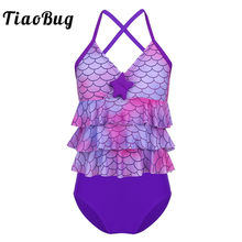 TiaoBug Kids Teens Tankini Mermaid Scales Printed Starfish Bikini Girls Swimsuit Bathing Suit Set Ruffles Tops Shorts Bikini Set(China)