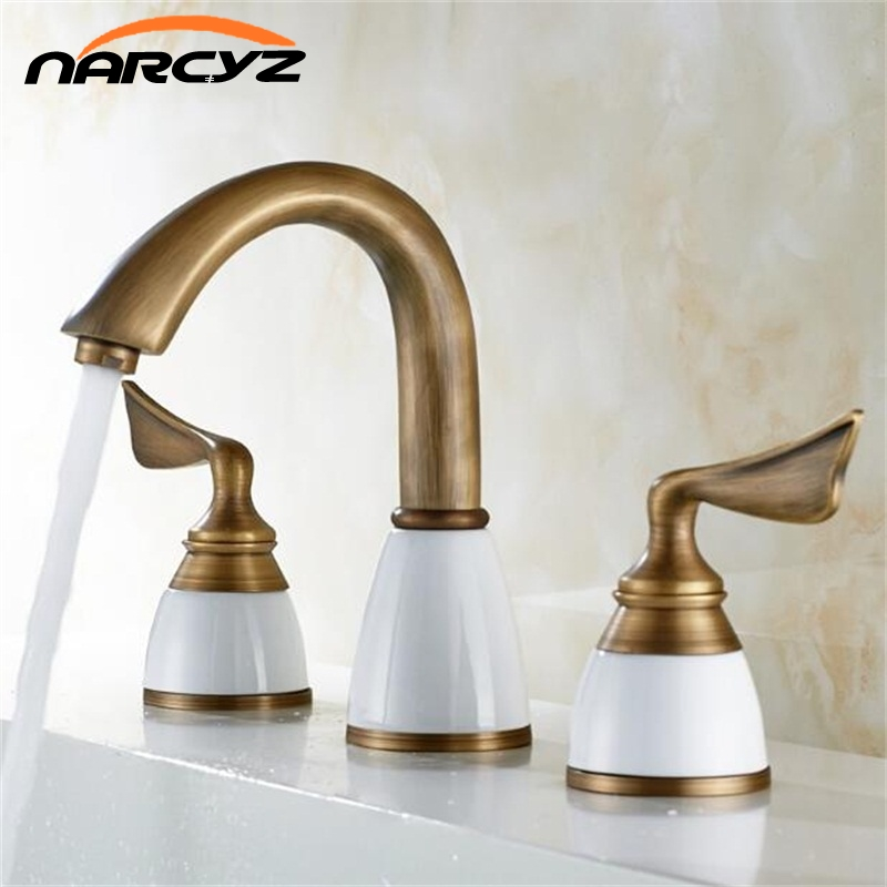 Luxury 3 Piece Set Faucet Bathroom Mixer Deck Mounted Sink Tap Basin Toilet Faucet Set Golden Finish Mixer Tap Faucet 8209 ouboni 3pcs set bathtub luxury golden plated bathroom faucet european split basin mixer tap ceramic faucet body cross handles
