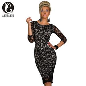 AINIAINI Lace Summer Sexy Bodycon Dresses vestido de festa 9c9290a3c54f