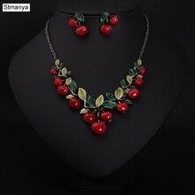 Hot Women Fashion Cute Retro Fashion Retro Jewelry Cherry Necklace Set Best Gift jewelry N1111
