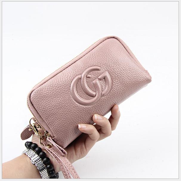 Female genuine leather organizer purses women s wallets ladies cell phone pockets zipper coin purses women