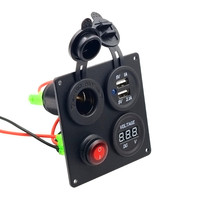 1PC Universal Car Auto Boat Marine Aluminum Switch Board USB Voltmeter Combination Panel ON OFF Switch