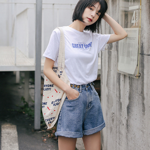 Image 5 - Streetwear High Waist Wide Leg Denim Shorts For Women 2020 New Jean Shorts Women Summer Korean Style Women Loose Short Shorts