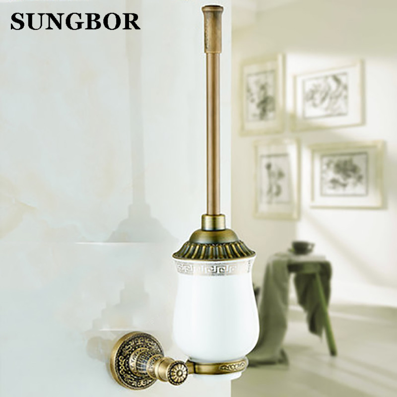 High-end Wall Mounted Brass Toilet Cleaning Brush Antique Brass Toilet Brush Holder bathroom accessories SL-5909F high end carving wall mounted toilet cleaning brush brass toilet brush holder free shipping wholesale and retail fe 8610