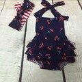 New Posh Cherry Baby Girls Clothes ,Halter Back Baby Bubble Romper ,Newborn Sunsuit,Ruffle Baby Romper matching knot headband