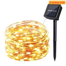 8 modeSolar Powered String Lights 50LED 100 led 200 lamp Copper Wire Outdoor Fairy Light for Christmas Garden Holiday Decora