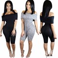 2017 Summer Rompers women Jumpsuits Bodysuits short Sleeve Slash neck Bodycon One piece Shorts Sexy Rompers Plus size S-XL