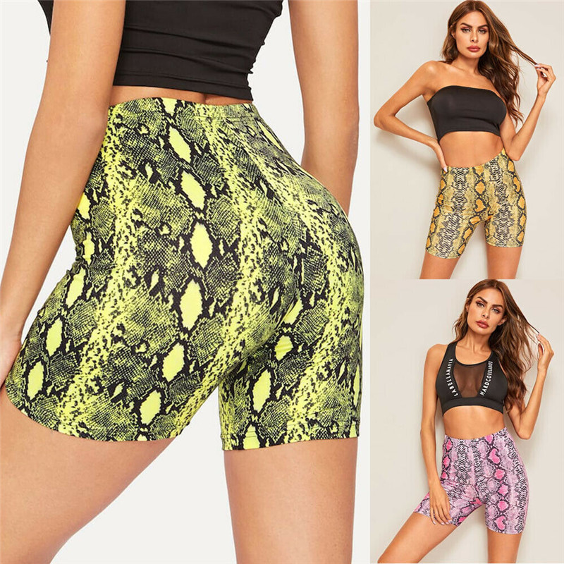 2019 Fashion Women Summer Casual Bodycon Sports   Shorts   Push Up Snakeskin Gym Workout Fitness   Shorts   Clothing New Arrival