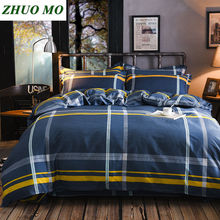 Plaid bed linen set Linens cotton Nordic style 100%cotton ropa de cama sheet 4pcs/ luxury bedding queen size