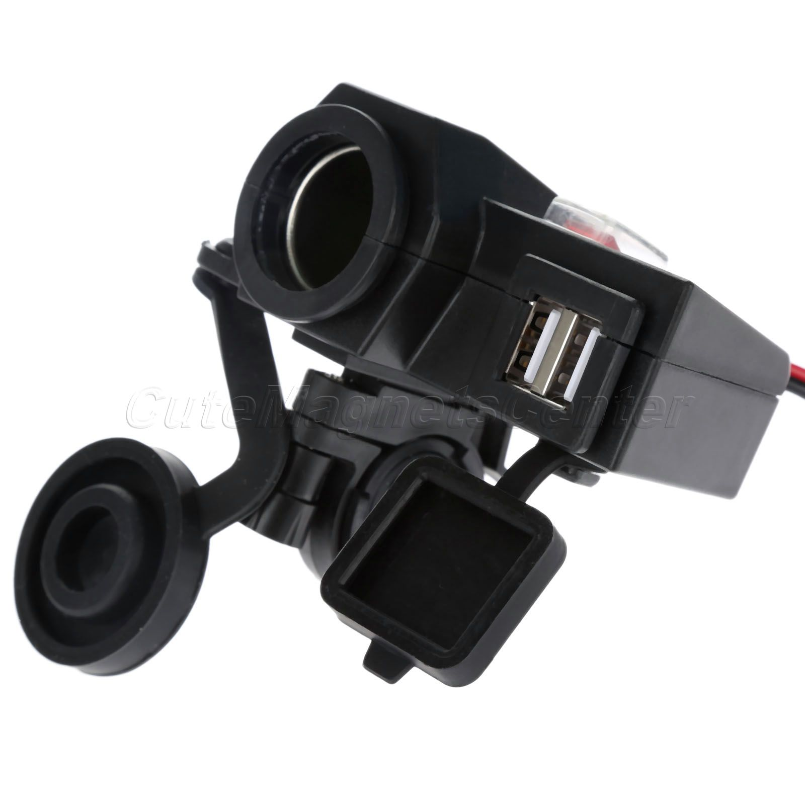 Weatherproof Motor 5V/2.1A Dual USB <font><b>Handlebar</b></font> Clamp Power Adapter Charger Universal for Motorcycle Cross Bikes Scooters Vehicles