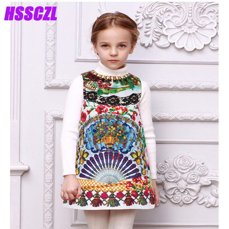 цены HSSCZL Girls Dresses 2017 new Cotton Floral Children 's Princess girl Dress High - end Spring Autumn sleeveless kids clothes