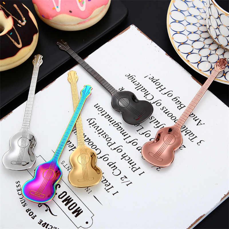 1 قطعة الفولاذ المقاوم للصدأ القهوة ملعقة الغيتار شكل الموسيقى موضوع الشاي اثارة ملعقة الآيس كريم الحلوى مغرفة ملعقة صغيرة أطباق هدية